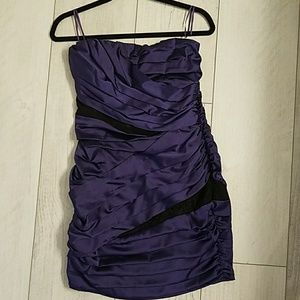 Purple with black lace design dress